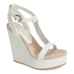 "Lola Cruz Chain T-Strap Wedge Sandal, 4 1/2"" heel ($186) ❤ liked on Polyvore featuring shoes, sandals, heels, wedges, sapatos, white, platform sandals, white platform sandals, t strap wedge sandals and white sandals"