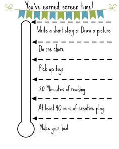 Earn Screen Time Free Printable Summer Schedule, Kids Schedule, Summer Activities, Parenting Hacks, Kids And Parenting, Family Rules Printable, Free Printable Chore Charts, Screen Time For Kids, Behavior Modification