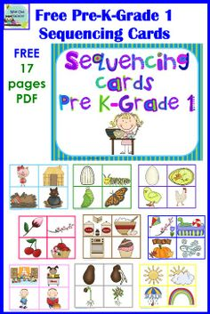 Story Sequencing Cards For Kindergarten Sequencing Cards, Story Sequencing, Sequencing Activities, Speech Therapy Activities, Kindergarten Literacy, Language Activities, Preschool Learning, Early Learning, Preschool Activities