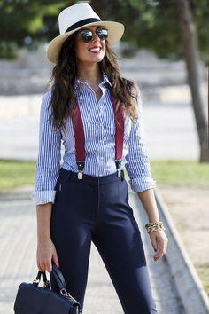 Pants with burgundy suspenders