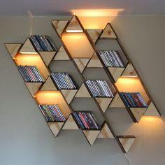 bookshelf and light display