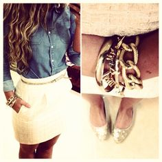 white skirt + denim shirt + skinny belt