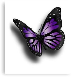 'Purple Butterfly' Canvas Print by wildflowerdw - digital drawing of a purple butterfly. Get this eye-catching design for yourself or share it with - Realistic Butterfly Tattoo, Purple Butterfly Tattoo, Butterfly Tattoos For Women, Butterfly Canvas, Butterfly Drawing, Butterfly Tattoo Designs, Butterfly Painting, Butterfly Wallpaper, Butterfly Shoulder Tattoo
