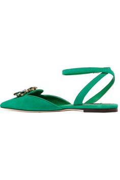 Dolce & Gabbana - Bellucci Crystal-embellished Suede Point-toe Flats - Jade - IT37.5