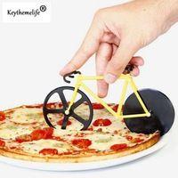 Creativo Bicicleta Chopper Cuchillo de la pizza de Pizza De Corte de Corte de acero inoxidable cuchillo de la Torta Herramientas de la Hornada de A0
