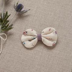 Vintage Floral Bow - Lavender Linen