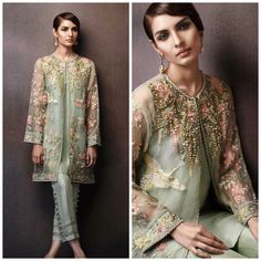 Pakistani Dress- Elan Eden Collection Inspired Embroidered Jacket with Cigarette Pants by KaamdaniCouture on Etsy