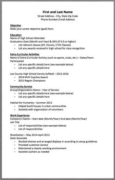 basic resume template first and last name street address city state zip code phone