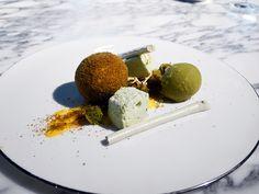 Lemon and matcha dessert at Pike & Pine Brighton Matcha Dessert, New Menu, Lemon Cheesecake, Best Dining, Lemon Curd, Graham Crackers, Meringue, Sorbet, Brighton