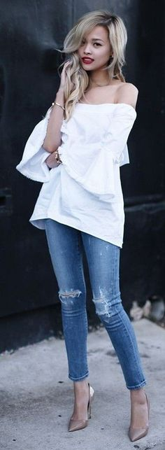 White Off the Shoulder Top + Denim Rips