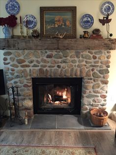 Fieldstone Fireplace river stone fireplace   anywhere fireplaces   pinterest   river