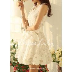Women's Graceful Floral Print Applique Sleeveless Dress