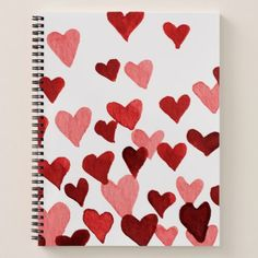 Valentines Day Watercolor Hearts  red Notebook - girlfriend love couple gift idea unique cool