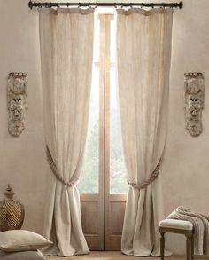 Linen drapes + hemp rope tieback