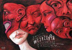 Wejrzenia( first sight love). Theatre poster by  Leszek Zebrowski