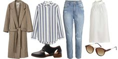 LIKE FIN SOM NOORA: Kåpe (kr 2899, Ganni), skjorte (kr 199) og jeans (kr 299, begge fra H&M), sko (kr 799, Bianco), høyhalset bluse (kr 299, Lindex) og solbriller (kr 79,90, H&M).