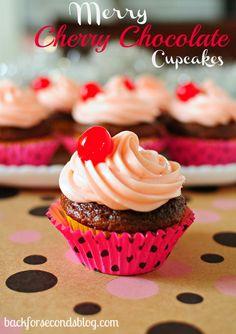 Cherry Chocolate Cupcakes @Bevvvvverly Kaine For Seconds  #cherry #chocolate #cupcakes