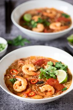 The ever popular Thai sour and spicy Tom Yum Noodle Soup. Ready in 20 minutes, it's delicious & comforting.