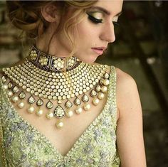 Light Gold Choker Kundan Necklace Set with Charming Look. Set Decor with Heavy Kundan Work and precious Pearls. Bridal Necklace, Necklace Set, Bridal Jewelry, Choker Necklaces, Pearl Necklace, Pearl Jewelry, Gemstone Jewelry, Fine Jewelry, Jewelry Logo
