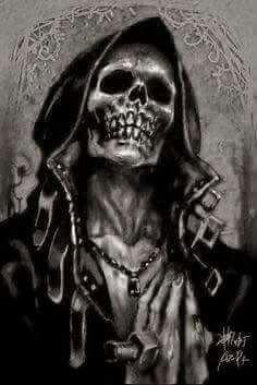 Skull - I can't make out the artist sig. Grim Reaper Art, Don't Fear The Reaper, Arte Horror, Horror Art, Skull Pictures, Skeleton Art, Skull Wallpaper, Dark Images, Skull Art