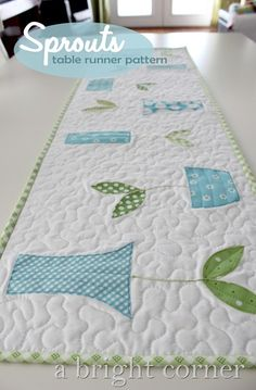 sprouts table runner and topper pattern- I'm going to make this with red leaves and aqua pots for my long dresser!