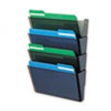 Desk Supplies>Desk Set / Conference Room Set>Holders> Files & Letter holders: DocuPocket Four-Pocket Wall Set, Plastic, Letter, 13 x 4 x 7, Smoke