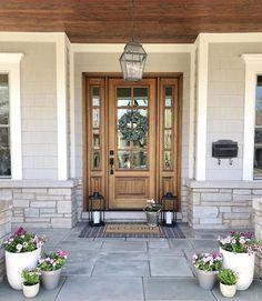 Brown Front Doors, Wood Front Doors, Exterior Front Doors, Exterior House Colors, Exterior Design, Front Door Entry, Front Door With Glass, Front Door Trims, Entry Door With Sidelights