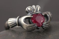 Natural Ruby claddagh ring in antiqued sterling silver Sizze