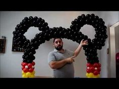 How to make a mickey mouse balloon arch. No arch kit or helium needed. Great for Mickey and Minnie mouse birthday parties. Add a Mickey and Minne mouse ballo. Ballons Mickey Mouse, Mickey Mouse Birthday Decorations, Mickey 1st Birthdays, Fiesta Mickey Mouse, Theme Mickey, Mickey Mouse Baby Shower, Mickey Mouse Clubhouse Birthday, Mickey Mouse Parties, Mickey Birthday