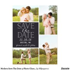 Modern Save The Date 4-Photo Classic Collage