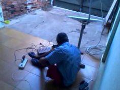 Capturando canais de forma amadora... Receptor , Mini Televisão e Antena...