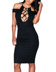 Show it off. The Nightwalker Bodycon is made in a knit fabric and features lace up design with shoulder cut outs and off-the-shoulder design. Zipper closure at back, double lined stretch fabric.