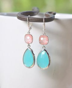 Large Turquoise Teardrop and Grapdefruit Pink Dangle Earrings by RusticGem.