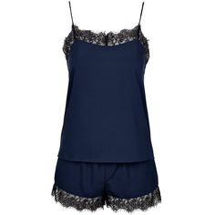 Topshop Women's Topshop Eyelash Lace Pajama Set (435 GTQ) ❤ liked on Polyvore featuring intimates, sleepwear, pajamas, pijamas, sleep wear and topshop