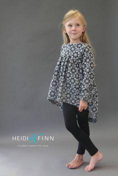 NEW Avondale tunic PDF pattern and tutorial tunic dress jumper blouse - Heidi & Finn Frocks For Girls, Dresses Kids Girl, Girls Party Dress, Baby Girl Dress Patterns, Baby Dress, Outfits Niños, Kids Outfits, Baby Girl Fashion, Fashion Kids