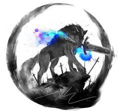 Dark souls :v Sif Dark Souls, Dark Souls Artorias, Dark Fantasy, Fantasy Art, Seele Tattoo, Initial Tattoo, Bild Tattoos, Anime Wolf, Soul Art
