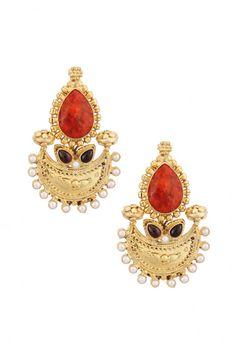 Amrapali -- Silver Coral Chaandbali Earrings