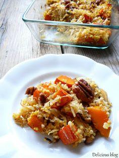 Delicious blog: Zapečené jáhly s dýní a kysaným zelím Polenta, Vegan Vegetarian, Macaroni And Cheese, Cooking Recipes, Ethnic Recipes, Fit, Blog, Bulgur, Mac Cheese
