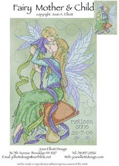 Fairy Mother and Child - Cross Stitch Pattern by Joan Elliott Designs using Kreinik metallics