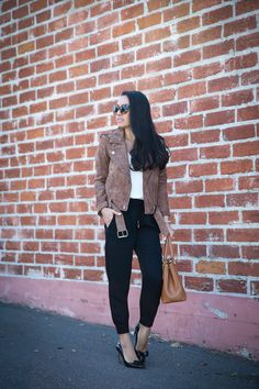 How to style jogger pants to work - jogger pant, suede moto jacket, bow pumps, chic work outfit
