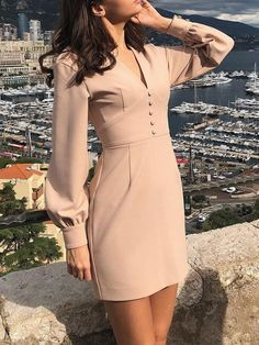 V-Neck Lantern Sleeve Dress Simple Dresses, Dresses For Work, Dresses With Sleeves, Formal Dresses, Office Dresses, Elegant Dresses, Classy Dress, Classy Outfits, Dress Outfits