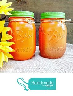 Set of 2 Rustic Fall Theme Orange and Gold Glitter Painted Mason Jars Centerpieces, Glass Flower Vase, Thanksgiving Table Decor, Pumpkin Halloween Decorations from A Simple Little Something https://www.amazon.com/dp/B074LWVQHL/ref=hnd_sw_r_pi_dp_ct8Hzb5N96NZT #handmadeatamazon
