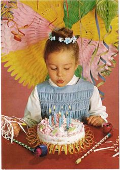 Vintage postcard Birthday Cake Party Girl age by ArcaniumAntiques, $7.00