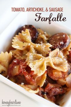 Tomato Artichoke and Sausage Farfalle. Super tasty, then again, you can't go wrong with artichokes and pasta! I used a whole pound of pasta which I think is equivalent to 2-3 cups...it wasn't as saucy as I hoped, but there was enough to coat all of the noodles. My sauce was also not very thick since I used soy milk. This is one of those inexpensive recipes that will yield multiple servings.