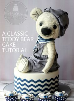 This full length tutorial shows you, step by step, how to build, carve, decorate, and detail a cake to make it look like a vintage style stuffed teddy bear!