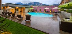The Best Western Plus Boulder Inn's pool has a beautiful view of the Flatirons and is just a short walk to the CU campus.