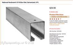 Tractor Supply ; Barn Door Hardware. National Hardware® 5116 Box Rail, Galvanized, 8 Ft. $29.99