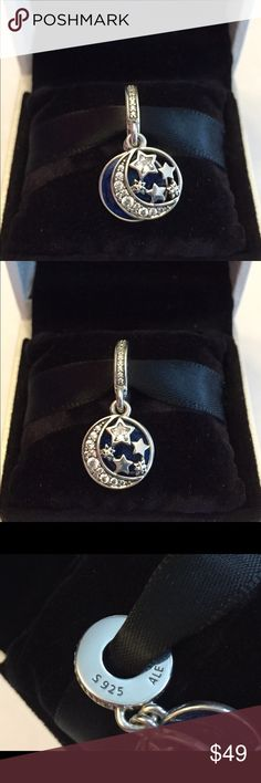 Authentic Pandora Vintage Night Sky Dangle Charm Sterling Silver with Dark Blue Enamel and Cz's.  Hallmark Stamp S 925 ALE. Comes with the Pandora Hinged Box. No Trading. Thank you. Pandora Jewelry