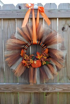 etsy wreaths | Fall Tulle Wreath by JaneJanes on Etsy