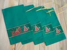 Set of 4 Christmas Gift Bags from Green Cotton Fabric by MilaStyle